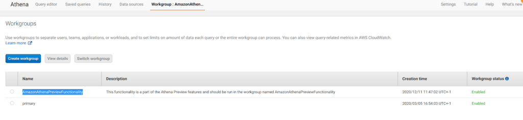 configure a workgroup in Amazon Athena