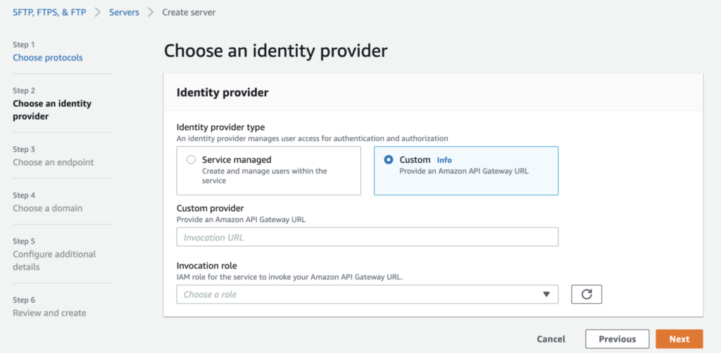 Self-managed user authentication in AWS Transfer Family