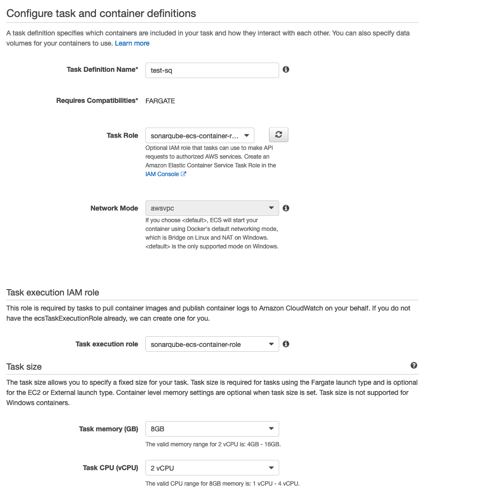 configure task and container definitions